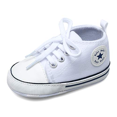 Scurtain Unisex Baby Boys Baby Girls Canvas Sneakers Toddler Sneaker Soft Anti-Slip Sole High Top Sneaker Infant Sneaker First Walkers Crib Shoes Prewalker White 3-9 Months