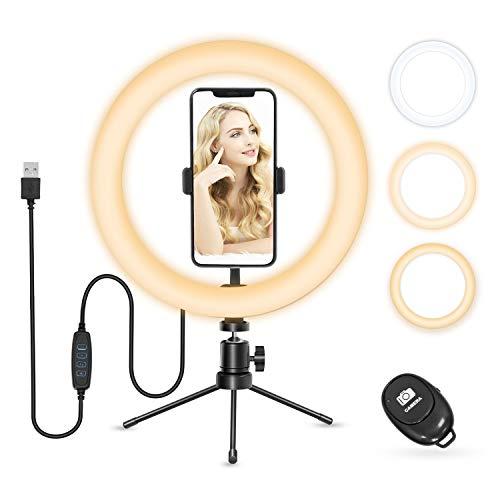 Anillo de Luz, Vamvo Aro de Luz con Tripode para Móvil, 10' Ring Light con Trípode y Controlador Bluetooth, 3 Modos & 8 Niveles de Brillo para TIK tok, Maquillaje, Vlog, Fotografía