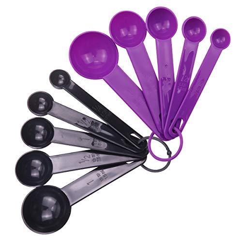 Zhongtou Messlöffel 10er Set Kunststoff Messset BPA-frei Messlöffel Küchenhelfer Backen Messwerkzeuge für trockene und flüssige Zutaten