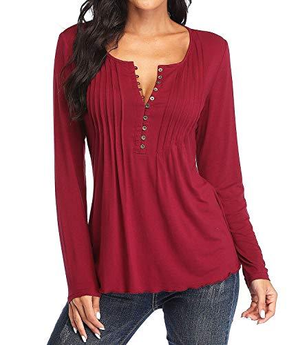 Dilgul Bluzki damskie bluzki z długim rękawem T-shirty damskie seksowne guziki plisowane na klatkę piersiową przednia tunika bluzka
