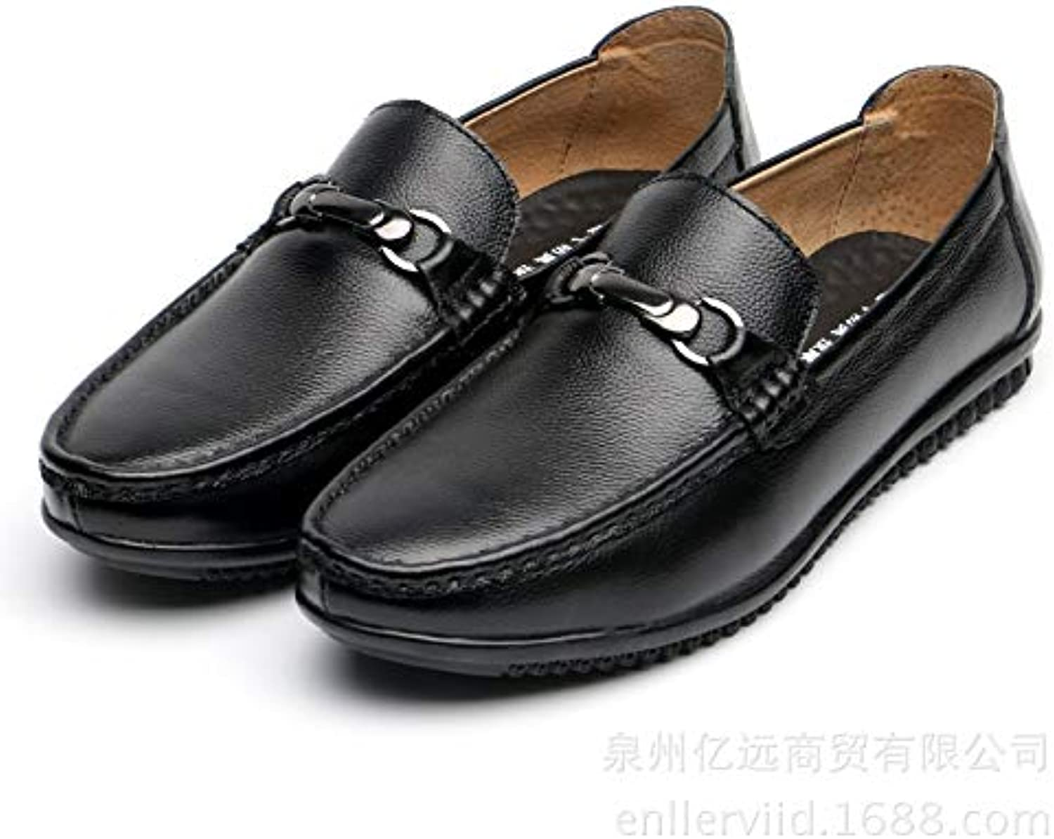 Leather Peas shoes Men's Lightweight Foot Lazy shoes (color   Black, Size   42)