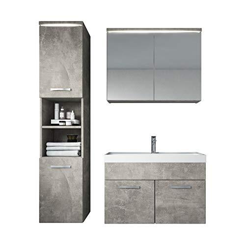Badezimmer Badmöbel Set Paso LED 80 cm Waschbecken Beton (Grau) - Unterschrank Hochschrank Waschbecken Spiegelschrank
