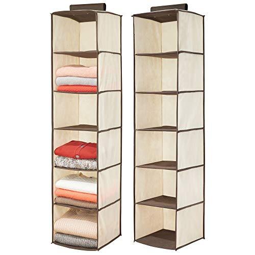 mDesign Juego de 2 organizadores de armarios de Fibra sintética – Práctica estantería de Tela para Colgar con 6 estantes – Zapatero Colgante y Plegable para el Dormitorio – Crema/marrón