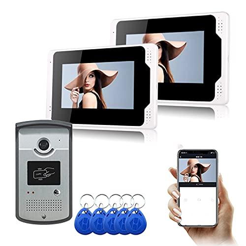 Video Portero con WiFi Inalámbrico Cableado 7 Pulgadas LCD Monitor De Video De La Puerta del Timbre De Teléfono con Tarjeta De ID 5PCS para El Seguimiento De Los Apoyos RFID Mando De Desbloqueo,B