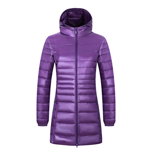 LucaSng Women's Long Down Jacket Ladies Jacket Lightweight Warm Hooded Puffer Jacket Windproof Insulated Coat Womens Winter Long Quilted Padded Slim Fit Outerwear (Purple with hat, 2XL)