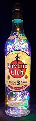 Havana Club - Flaschenlampe mit 80 LEDs Bunt Upcycling Geschenk Idee