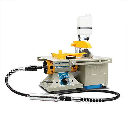 Upgraded Gem Jewelry Polishing Grinding Machine, Mini Table Saw Rock Lapidary Polisher Bench Buffer Machine, DIY Lathe Machine 0-10000r/min with Flexible Shaft for Home Woodworking Carving