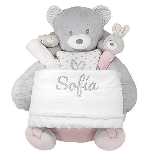 Mi Primer Sillón de Mababy - Canastilla Bebé PERSONALIZADA con el nombre | Cesta Recién Nacido con Sillón y Manta Bordada (Rosa)