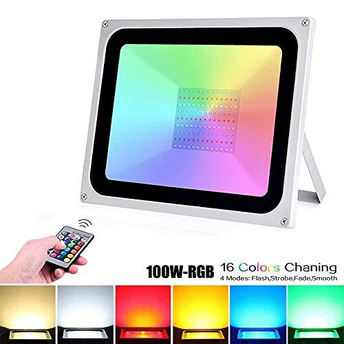 100W RGB LED Strahler, LED Fluter 8000LM Außen Strahler Scheinwerfer RGB Flutlicht LED Farbwechsel Außenstrahler Flutlichtstrahler IP65 Wasserdicht für Garten Party Outdoor Licht (1er Pack, 100W)
