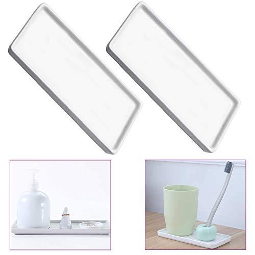 UTRUGAN 2 Stücke Porzellantablett Weiß Badezimmer Tablett Keramik Kosmetiktablett Bad ablagefächer Porzellan für Ohrringe, Ringe, Armbänder, Halsketten, Haarschmuck, Lippenstifte