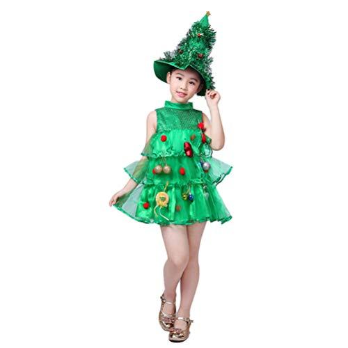 Amosfun Niños niñas vestido de árbol de navidad y disfraz de sombrero para niños en altura de 120 cm verde