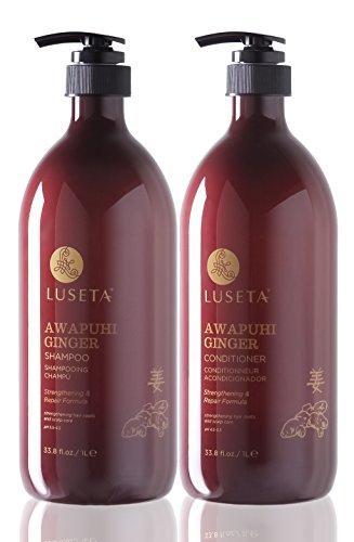 Luseta Awapuhi Ingwer-Shampoo und Conditioner, 2 x 1000 ml, feuchtigkeitsspendend, ideal für brüchiges, sonnengeschädigtes chemisch behandeltes Haar, sulfatfrei, phosphatfrei, parabenfrei