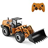 GoolRC WLtoys XKS 14800 RC Bulldozer, 1/14 Scale 2.4Ghz Electric Remote Control Bulldozer, RC Construction Vehicle Toy Metal Shovel Loader Tractor with LED Lights and Sound, RC Car for Kids and Adults