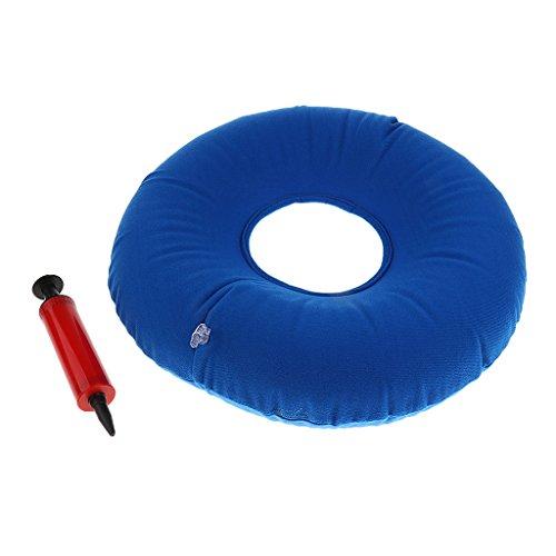 perfk Orthopädisch Aufblasbares Sitzkissen Sitzring mit Pumpe zur Steißbein Entlastung Hämorrhoiden Sitzkissen - Blau