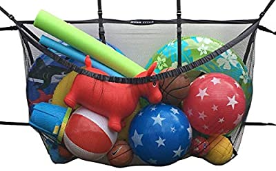"""MESH TITAN Hanging Storage Bag (Black) - Updated for 2020 - Giant Organizer for Bag Pool, Fence, Deck, Garage, Gym - 60"""" Pouch Floats, Sports Balls, Inflatable rafts, Toys, Yoga More"""