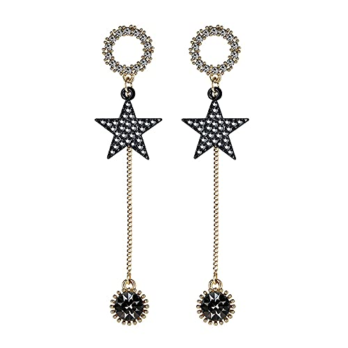 AZPINGPAN 1 par de aretes con Borla de Estrella de circonita, aretes Americana de Cristal de Corte Tridimensional, Regalo de joyería Exquisita de Plata de Ley 925 Earneedle Lady