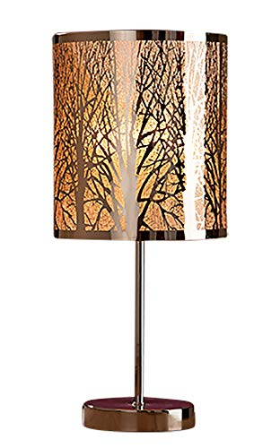 GILDE Lampe Forest - Tischlampe mit Wald Motiv Silber Fassung E 27 H 44 cm