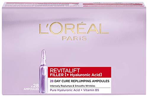 L'Oréal Paris Ampollas Rellenadoras Revitalift Filler, Para 28 Días, Con Ácido Hialurónico Puro, Antiarrugas, Piel Más Joven en 7 Días, Para Rostro, 1,3 ml, 28 Unidades