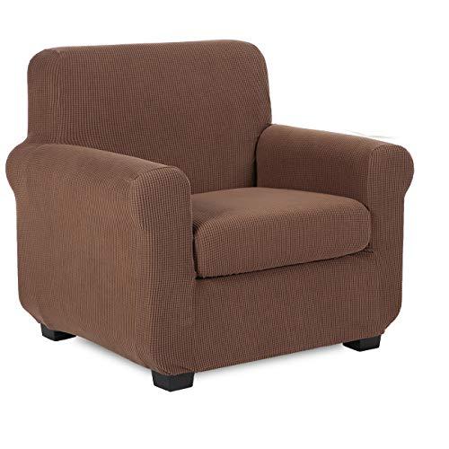 TIANSHU Funda de sillón,2-Piezas Jacquard poliéster Funda de Sofá 1 plazas elasticas Suaves Resistentes(1 plazas,Café)