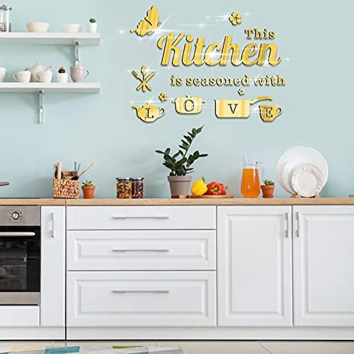 14 Piezas Pegatinas de Pared Espejo de Acrílico, JC-Houser Murales Adhesivos de Pared con Letras de Utensilios de Cocina y Mariposa, Adhesivos Decoración para Cocina Comedor Restaurante (Oro)