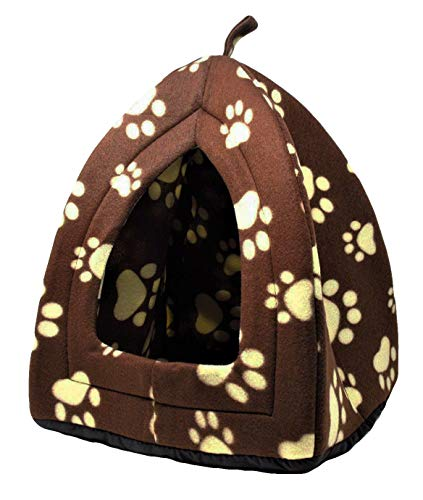 IGLOO - Cama portátil plegable para mascotas, color marrón y crema