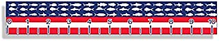 USA American Fish Flag Self Adhesive Measuring Ruler Tape 40 inch Long Printed Sticker Boat Fishing Decal Boating Graphic