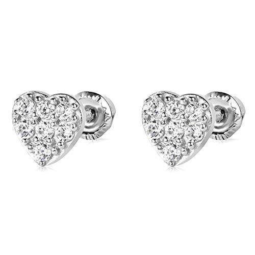 14k White Gold Heart Stud Earrings 4883-29