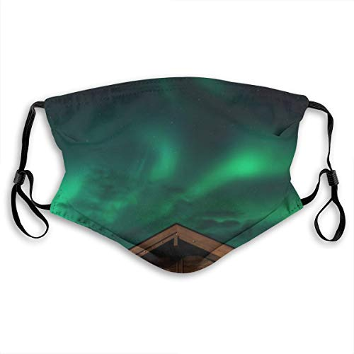 Starry Night Green Aurora Beautiful Scenery Dust Face Mask Adjustable Mouth Mask Balaclava Bandanas With Filter Paper For Kids Teens Men Women M
