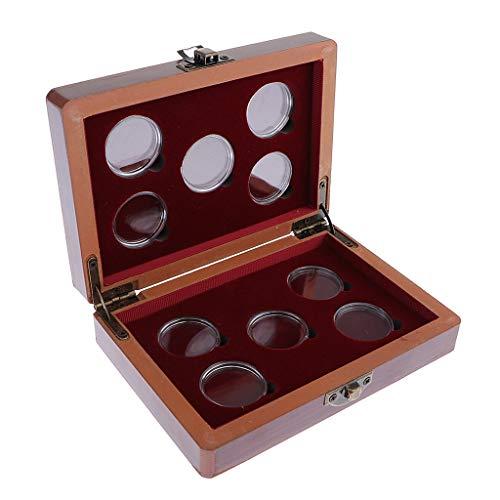 IPOTCH Holz Münzenetui, Münzbox, Münzkoffer, Münzkapseln, Münzenkoffer, Münzenkassette, Münzaufbewahrungsbox für 10pcs Münze Kapseln bis Ø 27 mm
