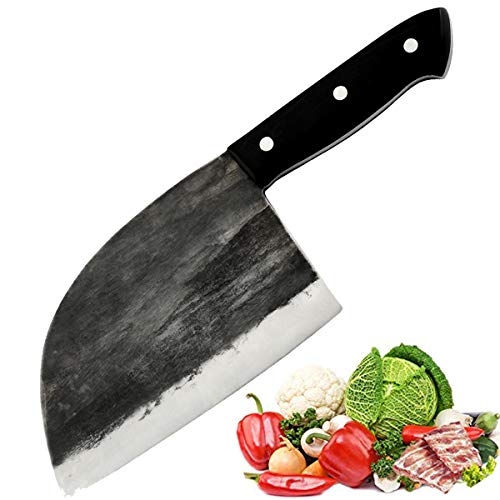 Promithi Handgemacht Chinesisches Kochmesser Metzgermesser Ausbeinmesser Santokumesser Fleischmesser Schälmesser Allzweckmesser Küchenmesser Hackmesser für Hackbeil-Zerhacker