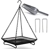 Ardner Ground and Hanging Bird Seed Feeder mesh Dish Tray 10.8 x 10.8 inch Platform for Ground Feeding Birds. Includes Chain to Hang, Ground Stakes to Hold in ground and Stainless Steel Seed Scoop.