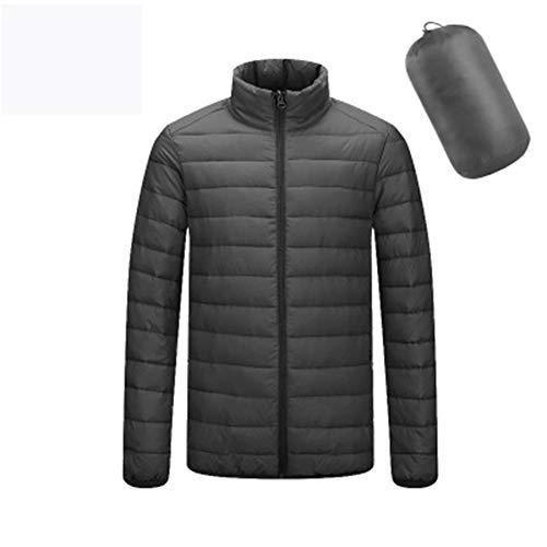 Daunen-Bomberjacke Leichter Stehkragen Packbare Tragbare Outdoor Jacke Winter Coat Warm & Winddicht Wasserdicht & Atmungsaktiv Outdoor-Outwear Mantel Herren,Schwarz,XXXL