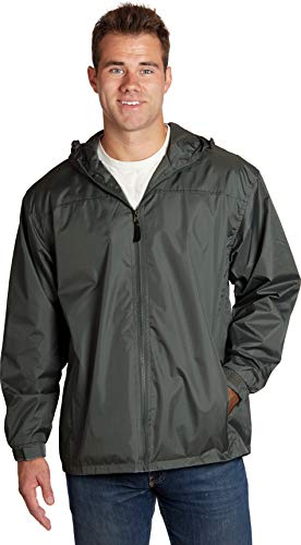 eb79 Soccer Jackets for Men Hooded Wind Resistant/Water Repellent Windbreaker Jacket - Charcoal, Large