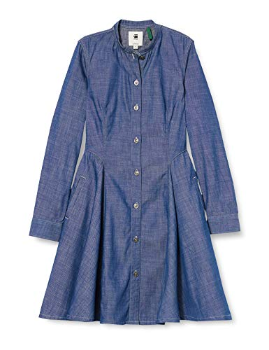 G-STAR RAW Sukienka damska Bristum Slim Flare Fringe, niebieski (Rinsed 082), XL