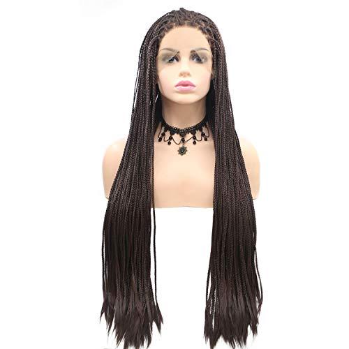 DKEE Pelucas Trenzas de Color sólido Negro Pelo Largo en el Encaje Hecho a Mano de Las Mujeres de la Peluca. Conjuntos de Pelucas Europeas y Americanas