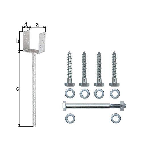 U - Pfostenträger Set 91 x 100 mm mit Dolle 400 mm incl. Befestigungsschrauben