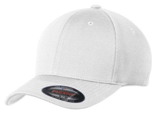 Sport-Tek® Flexfit® Cool & Dry Poly Block Mesh Cap. STC22 White L/XL