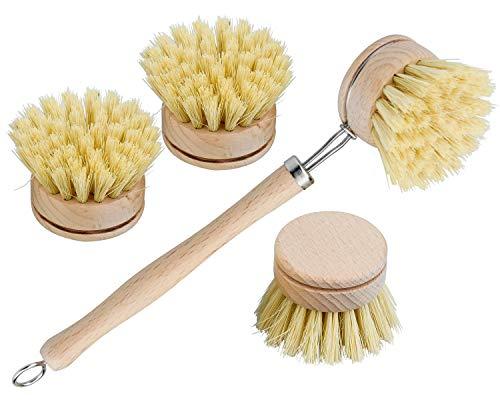 cococity Juego de 4 Cepillos para Fregar Platos de Bambú Limpieza del Hogar para Lavar Ollas, Sartenes, Platos y Cubiertos intercambiable/cabezal de repues