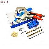 JingHai Mini Pocket Hole Jig Kit Destornillador Step Drill bit Llave de sujeción con Caja para Kreg Woodworking Tool HT1145-Set 3