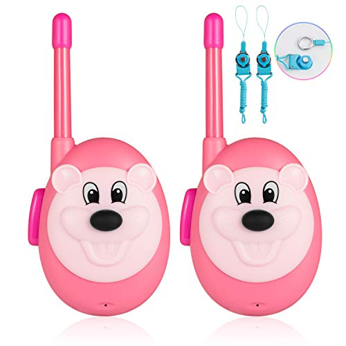 Walkie Talkies for Kids 2-Piece Two-Way Chat Radio Kid Toy Gift Portable Walkie Talkies Best Gifts Toys for Boys and Girls to Outside Adventure, Camping, Hiking (Pink and Pink)