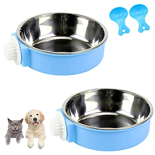 Lucky Interests 2 Pack Blue Crate Dog Bowl, Plastic Bowl & Stainless Steel Bowl Removable Hanging Food & Water Feeder 2-in-1 Cage Bowl Coop Cup for Cat, Dog, Birds, Parrot with 2 Pet Food Spoons