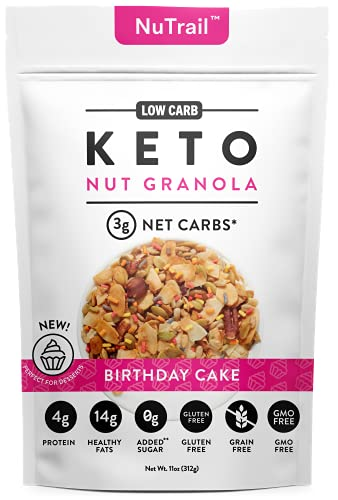 NuTrail™ - Keto Birthday Cake Nut Granola Healthy Breakfast Low Carb Cereal Snacks & Food | Only 2g Net Carbs | No Added Sugar | Grain Free | Gluten Free (11 oz)