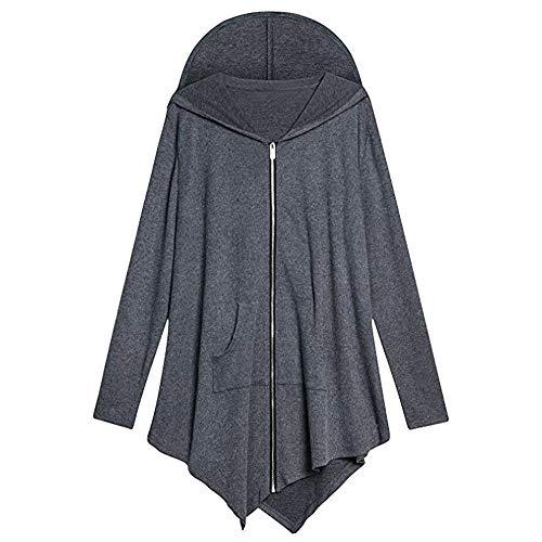 OSYARD Damen Asymmetrisch Cape Style Voller Reißverschluss Kapuzenpullover Sweatshirts mit Tasche, Langarm Kap Art Strickjacke Jacke mit KapuzeJacket Sport Mantel Outwear (M, Grau)