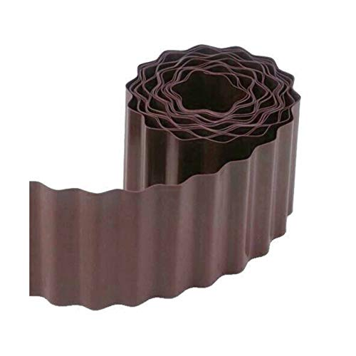 IINSSDJ Flexible Plastic Garden Lawn Grass Edge Brown Edger Edging Border Wall Landscape for Courtyard, Garden Fence, Restaurants, Decorative Corrugated (Color : Brown)