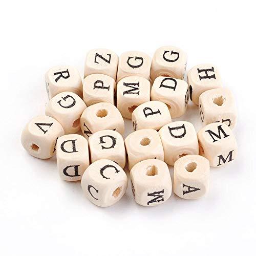 100 cuentas de madera natural con forma de dados de 10 mm, para manualidades, 4 mm de diámetro, sin tratar, para pulseras, collares, llaveros y joyas infantiles.