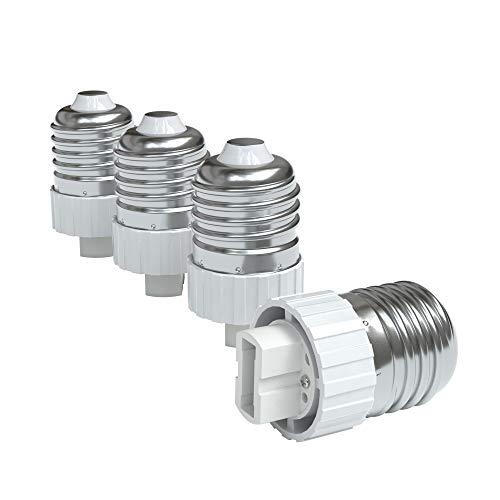 4x Lampensockel Adapter – Konverter für E27 Fassung auf G9 | Lampenadapter für LED-/Halogen- und Energiesparlampen | Sockeladapter von EAZY CASE, weiß