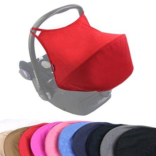 BAMBINIWELT Sonnenverdeck UV50+ für Maxi-Cosi Cabriofix, Sonnendach Babyschale, Autositz VELOUR (rot VELOUR) XX