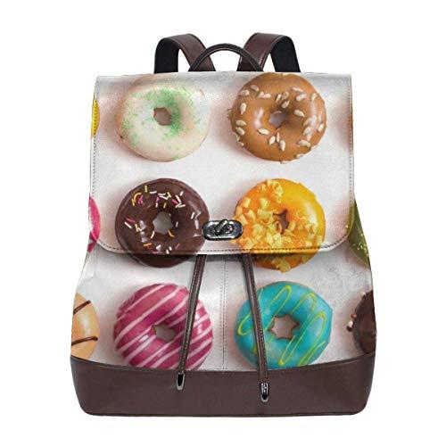 Flyup Cool Donut Womens Leather Backpack Vintage Laptop Backpack Travel Daypack College School Bookbag For Women Girls & Students Mochila de cuero para mujer