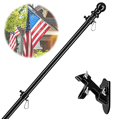 Barcetine Black Flag Pole Kit for House- 5 ft Flag Pole with Tangle Free Spinning Grommets -Adjustable Flag Pole with Mounting Bracket for Trucks,Jeep,Porch,Deck