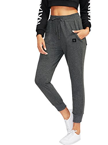 SweatyRocks Women's Casual Sweatpants Yoga Workout Jogger Pants with Pockets (Small, 1-Dark Grey)